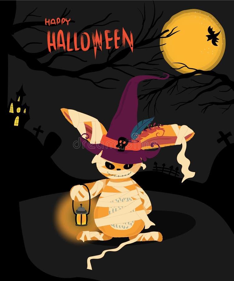Cartão de Dia das Bruxas com um coelho do monstro ilustração stock