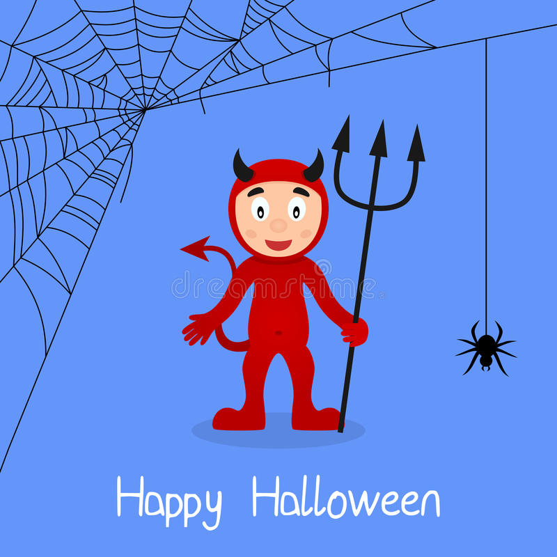Cartão de Dia das Bruxas da Web de diabo vermelho & de aranha ilustração royalty free
