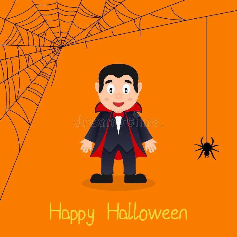 Cartão de Dia das Bruxas da Web de Dracula & de aranha ilustração royalty free