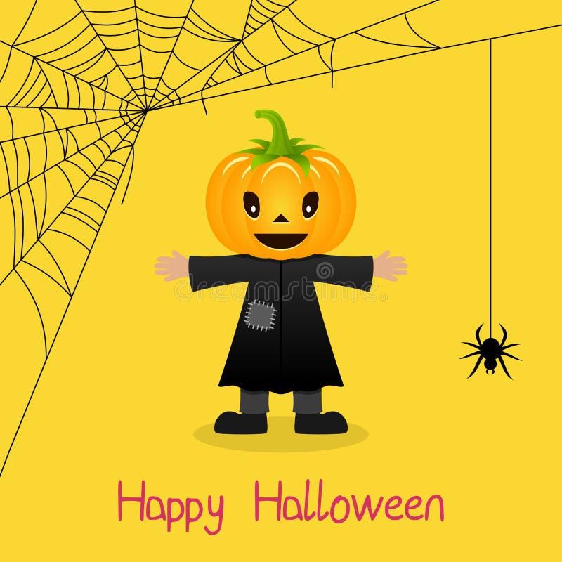 Cartão de Dia das Bruxas da Web do espantalho & de aranha ilustração do vetor