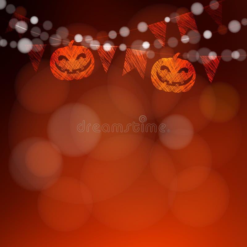 Cartão de Dia das Bruxas ou do diâmetro de los muertos, convite Party a decoração, as abóboras, as bandeiras e as luzes da corda  ilustração do vetor