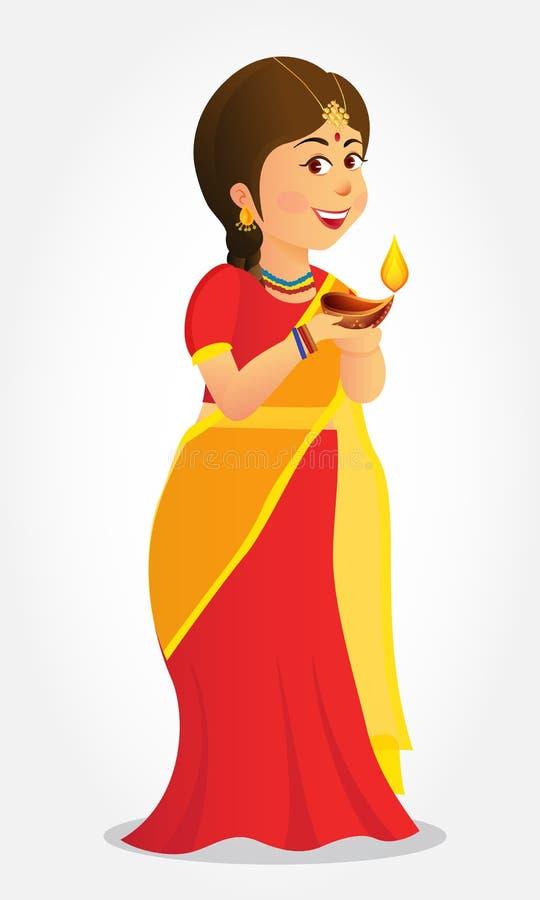 Cartão de Diwali com as crianças indianas dos desenhos animados ilustração do vetor
