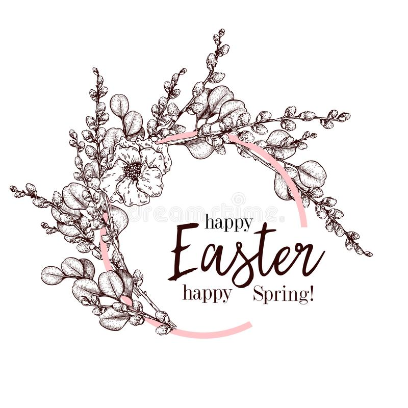 Cartão de Easter Bandeira desenhada mão do vetor Grinalda do bracnh do salgueiro com a flor do eucalipto e da papoila PÁSCOA feli ilustração stock