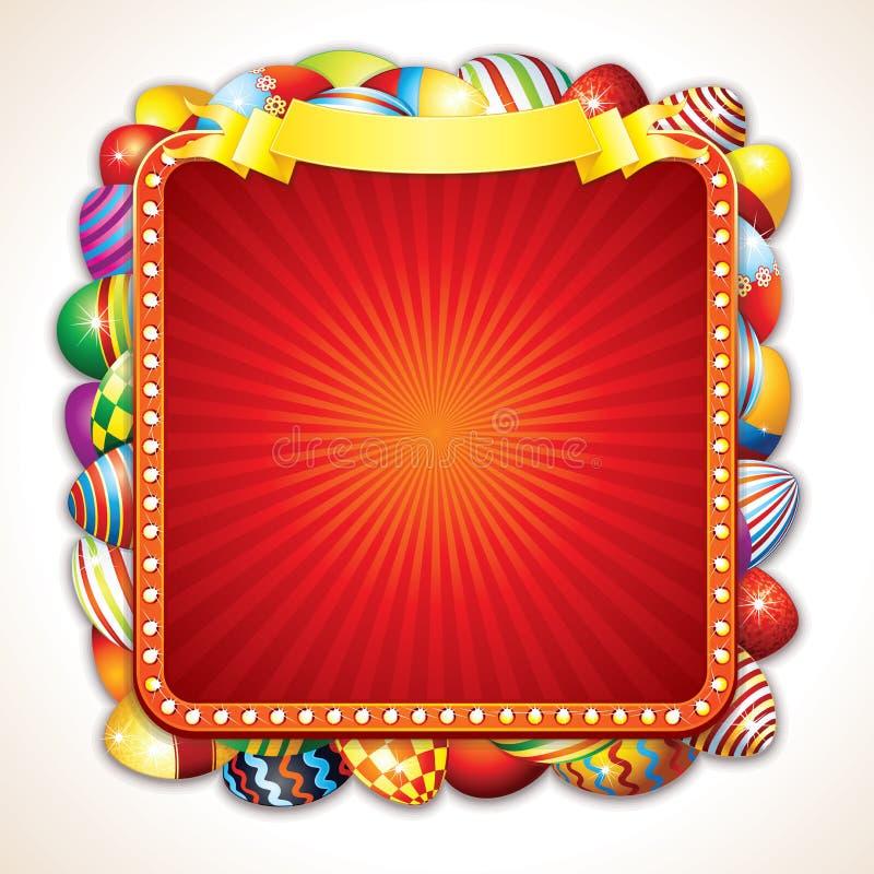 Cartão de Easter com grupo de ovos pintados coloridos ilustração do vetor