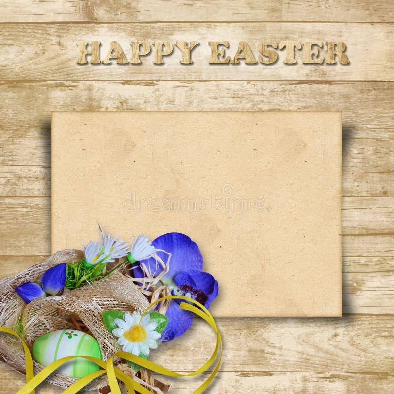 Cartão de Easter com o ninho com ovos em um fundo de madeira ilustração do vetor