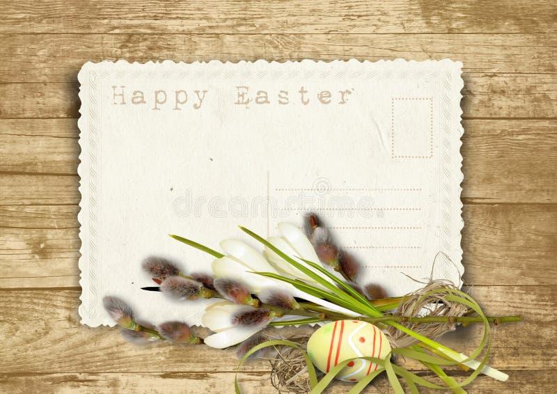 Cartão de Easter do vintage com bichano-salgueiro em um fundo de madeira ilustração royalty free