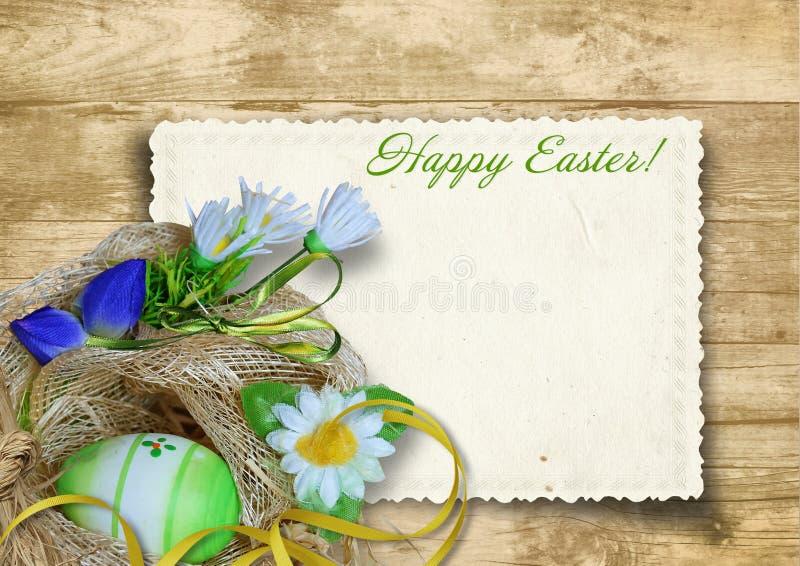 Cartão de Easter do vintage com o ninho do ovo da páscoa em um backgrou de madeira ilustração do vetor