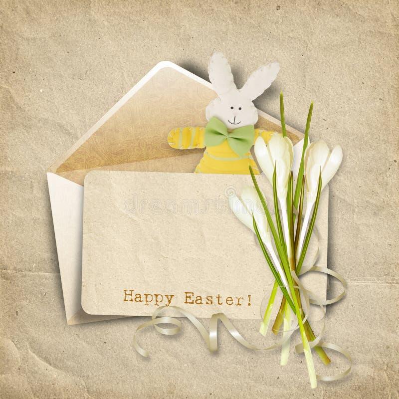 Cartão de Easter do vintage para felicitações. com cartão velho, coelho e ilustração stock