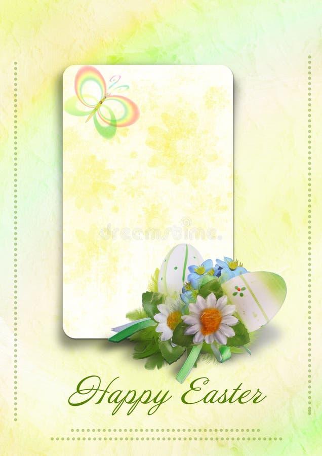 Cartão de Easter feliz com ovos ilustração royalty free