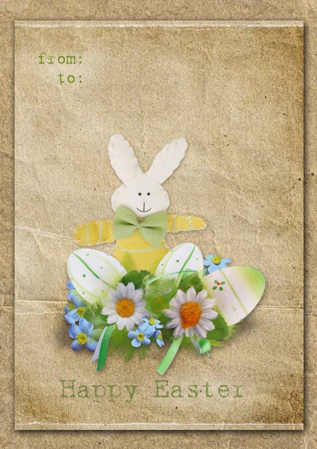 Cartão de Easter feliz com ovos e coelho em um fundo do vintage ilustração do vetor