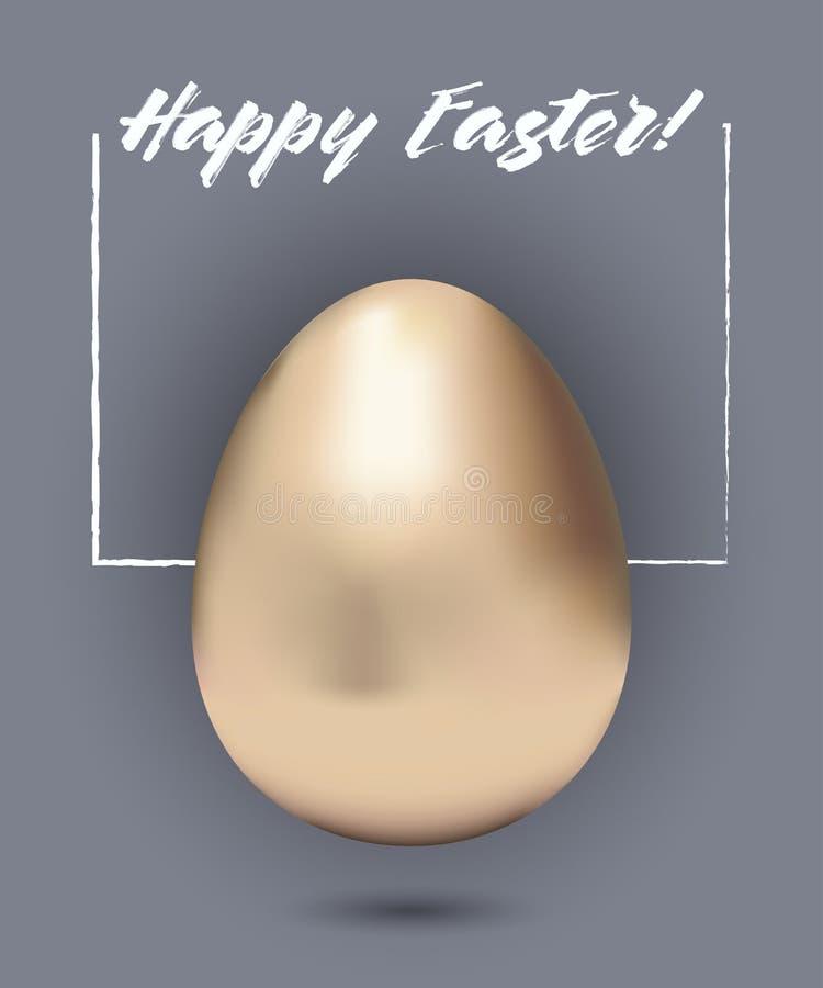 Cartão de easter feliz com um ovo de bronze ilustração stock