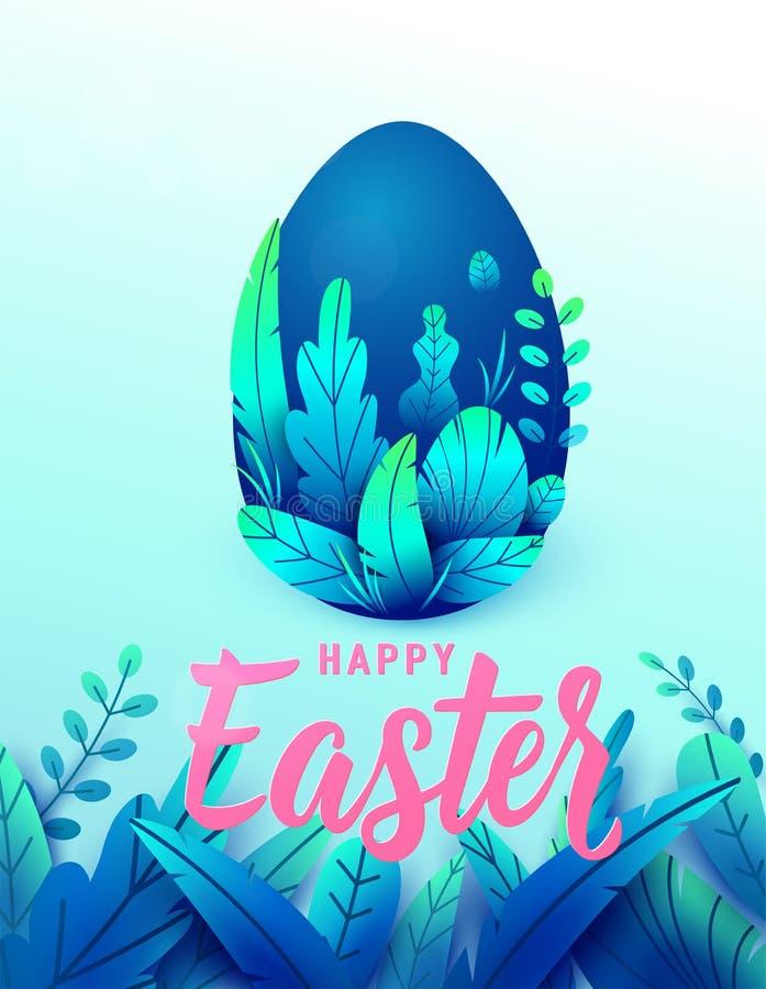 Cartão de easter feliz, ovo grande da natureza 3d com folhas da mola Texto que rotula o sinal para o fundo de cumprimento do feri ilustração stock