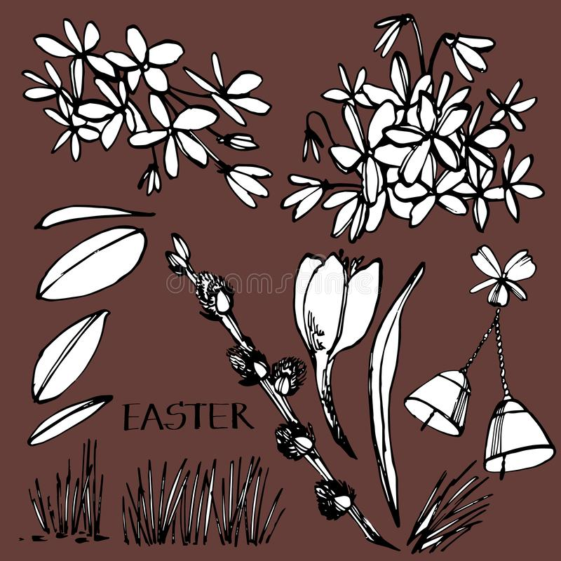 Cartão de Easter Ilustrações tiradas mão das flores Mola feliz da Páscoa Decoração gravada vintage do feriado da mola ilustração do vetor