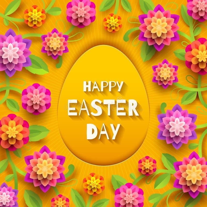 Cartão de Easter Ovo de papel da Páscoa com cumprimento e flores ilustração do vetor