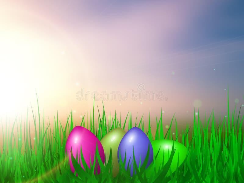 Cartão de Easter Ovos de Easter na grama Ilustração do vetor ilustração stock