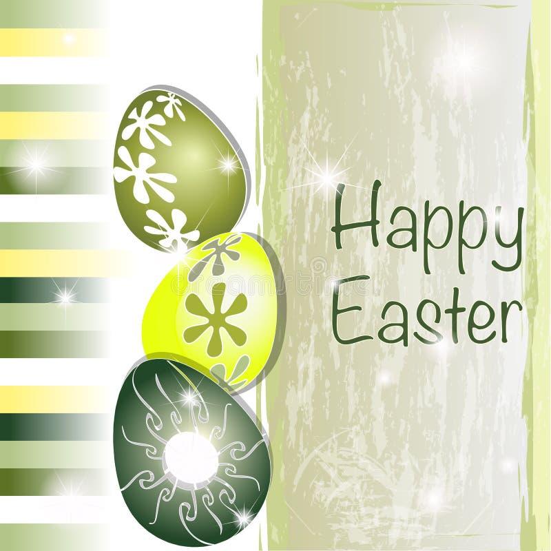 Cartão de Easter verde e amarelo ilustração do vetor