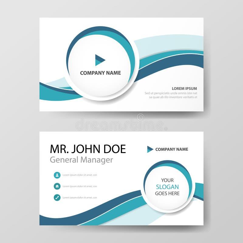Cartão de empresa azul do círculo, molde do cartão de nome, molde limpo simples horizontal do projeto da disposição, bandeira do  ilustração royalty free