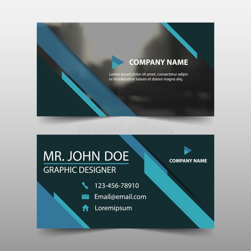 Cartão de empresa azul, molde do cartão de nome, molde limpo simples horizontal do projeto da disposição, molde da bandeira do ne ilustração do vetor