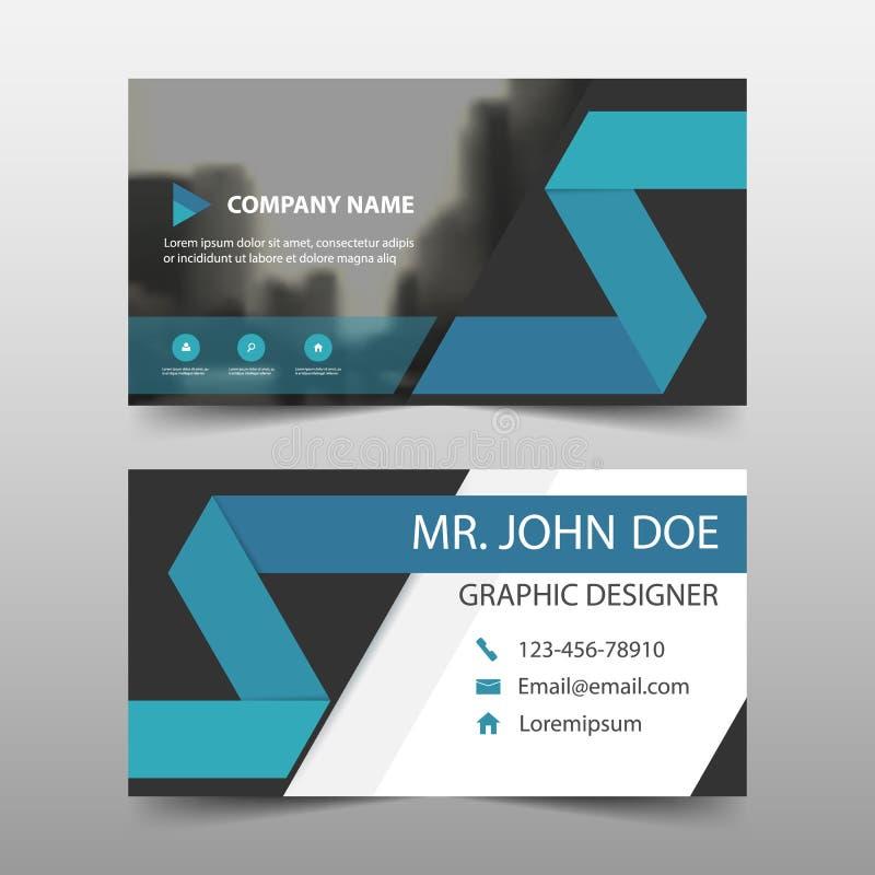 Cartão de empresa azul, molde do cartão de nome, molde limpo simples horizontal do projeto da disposição, molde da bandeira do ne ilustração royalty free