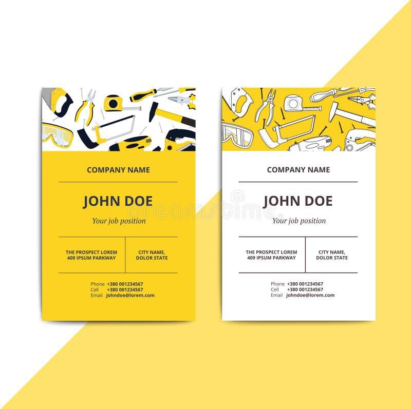 Cartão de empresa da melhoria home com ferramentas do reparo Hous ilustração royalty free