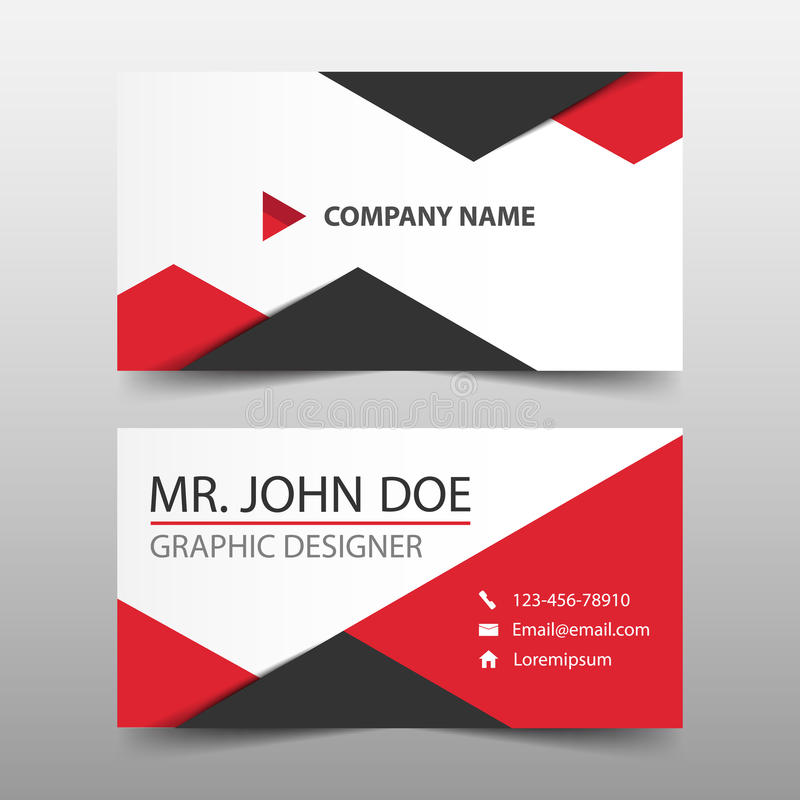 Cartão de empresa vermelho do triângulo, molde do cartão de nome, molde limpo simples horizontal do projeto da disposição, ilustração do vetor