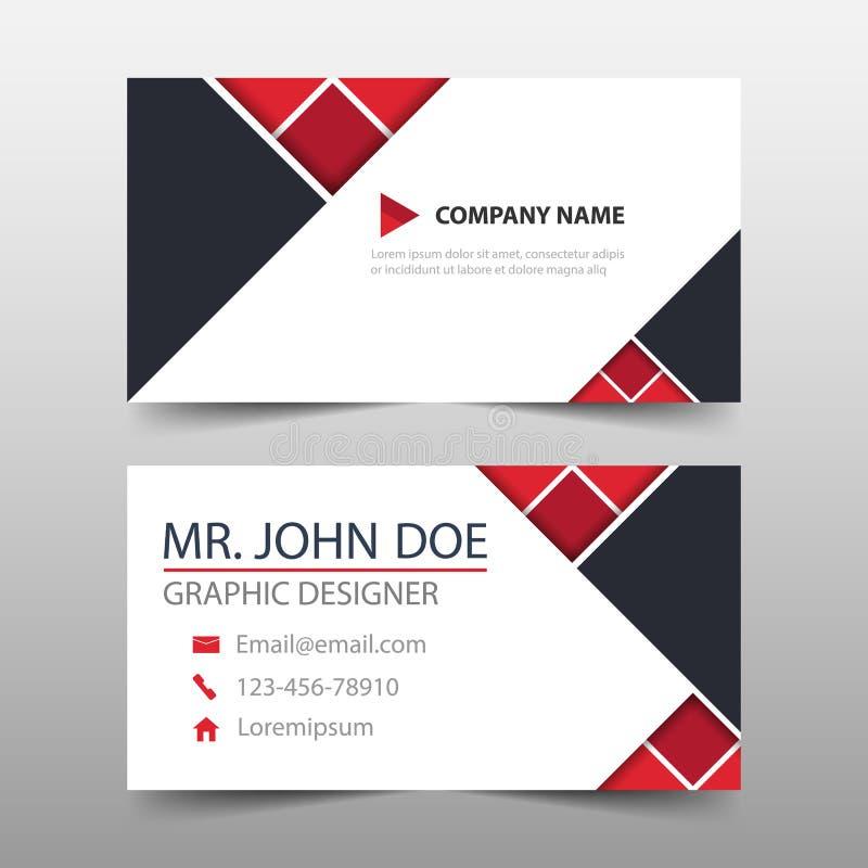 Cartão de empresa vermelho do triângulo, molde do cartão de nome, molde limpo simples horizontal do projeto da disposição, bandei ilustração do vetor