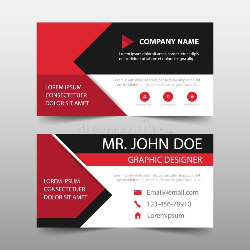 Cartão de empresa vermelho, molde do cartão de nome, molde limpo simples horizontal do projeto da disposição, molde da bandeira d ilustração do vetor