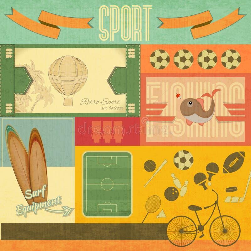Cartão de esporte retro ilustração do vetor