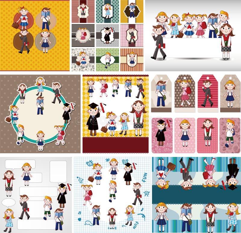 Cartão de estudante dos desenhos animados ilustração royalty free
