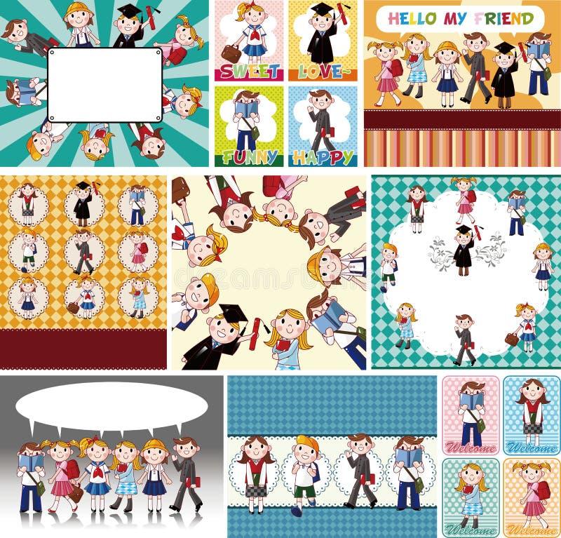 Cartão de estudante dos desenhos animados ilustração stock