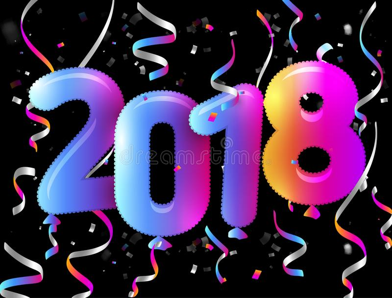 Cartão de Eve Happy New Year O símbolo colorido do inclinação balloons o cartaz Fundo preto com confetes de queda coloridos e ilustração stock