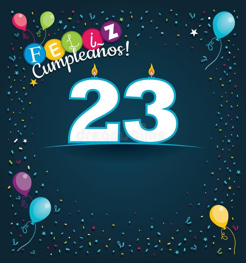Cartão de Feliz Cumpleanos 23 - feliz aniversario 23 na língua espanhola - com velas brancas ilustração do vetor