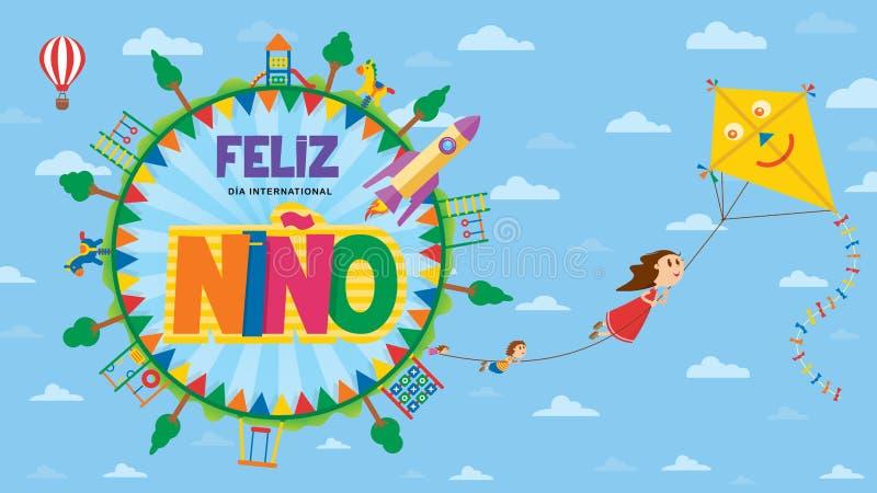 Cartão de Feliz Dia del Nino - o dia das crianças felizes na língua espanhola Texto dentro de um círculo cercado por campo de jog ilustração do vetor