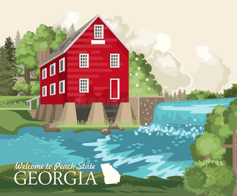 Cartão de Geórgia EUA Cartaz do vetor de estado do pêssego Fundo do curso no estilo liso ilustração do vetor