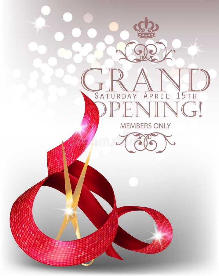 Cartão de grande inauguração elegante com a fita e as tesouras vermelhas onduladas textured ilustração do vetor