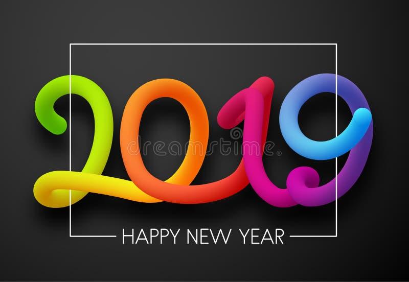 Cartão de Grey Happy New Year 2019 com figuras de néon ilustração do vetor