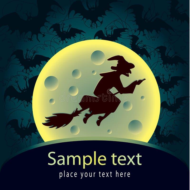 Cartão de Halloween com bruxa ilustração do vetor