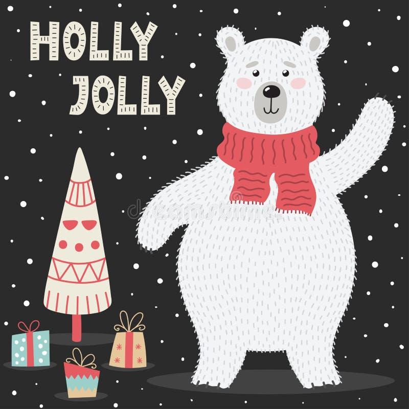 Cart?o de Holly Jolly com um urso polar bonito ilustração royalty free