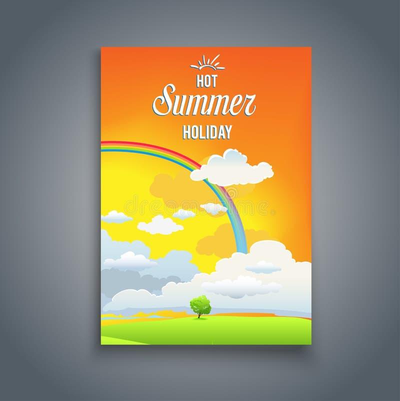 Cartão de horas de verão com arco-íris ilustração royalty free