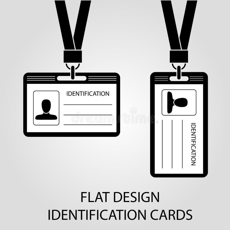 Cartão de identidade dois com uma passagem da foto no estilo liso ilustração royalty free