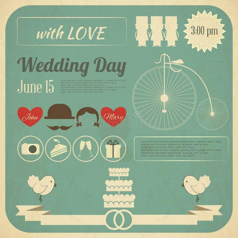 Cartão de Infographics do convite do casamento ilustração do vetor