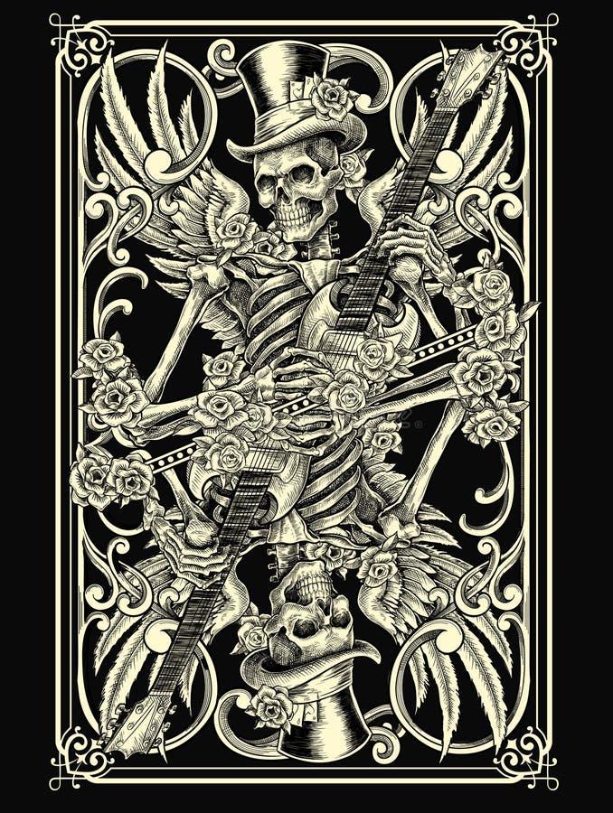 Cartão de jogo de esqueleto ilustração do vetor