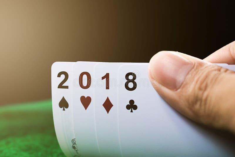 Cartão de jogo do ano novo feliz 2018 fotos de stock