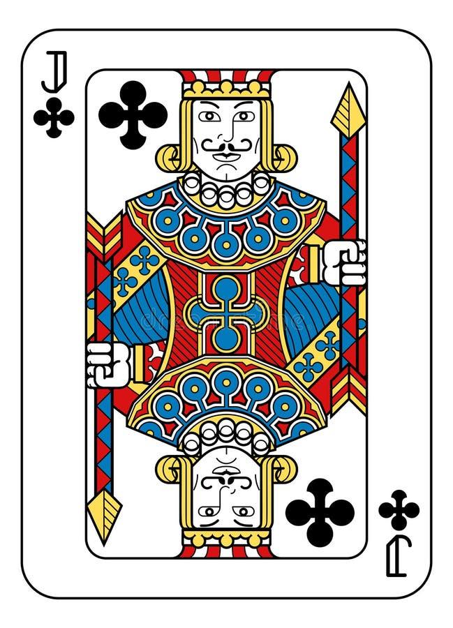Cartão de jogo Jack do preto azul vermelho do amarelo dos clubes ilustração do vetor