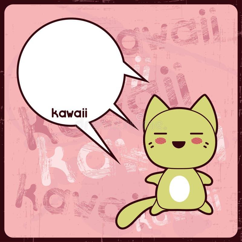 Cartão de Kawaii com o gato bonito no fundo do grunge ilustração royalty free
