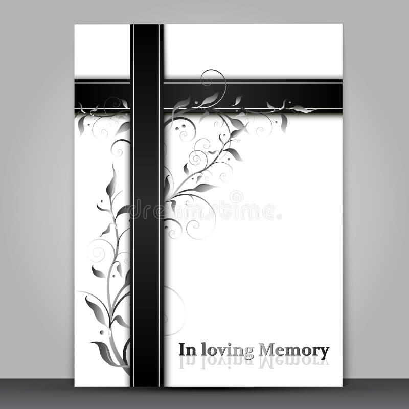 Cartão de lamentação branco com efeito do ornamento 3d floral isolado no fundo cinzento ilustração do vetor