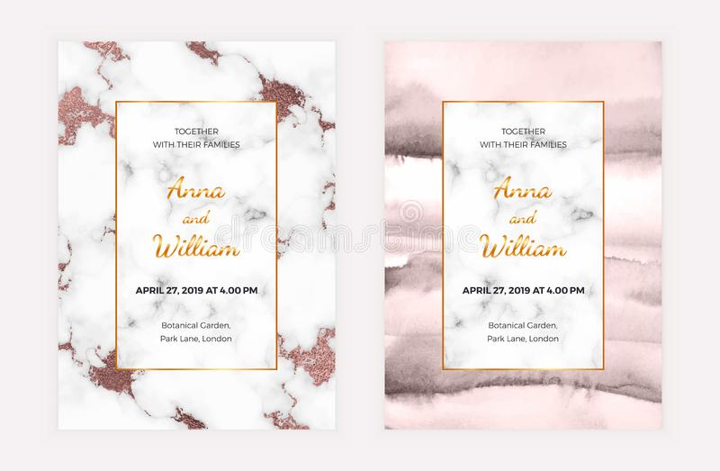 Cartão de mármore do convite do casamento com textura cor-de-rosa da folha e da aquarela de ouro Molde para a celebração, bandeir ilustração do vetor