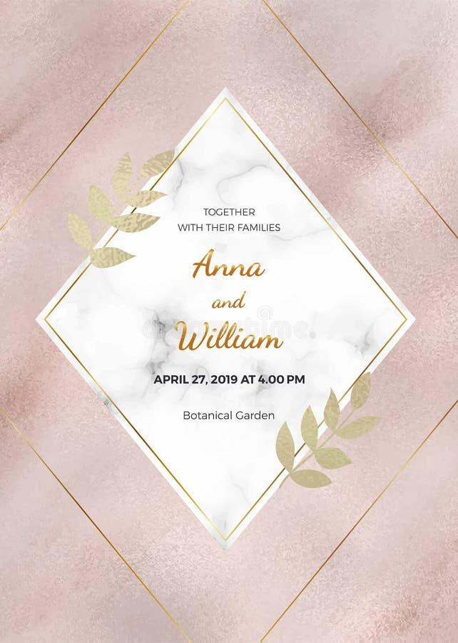 Cartão de mármore do convite do casamento do ouro de Rosa com quadro do rombo e linhas e as folhas douradas da folha ilustração do vetor