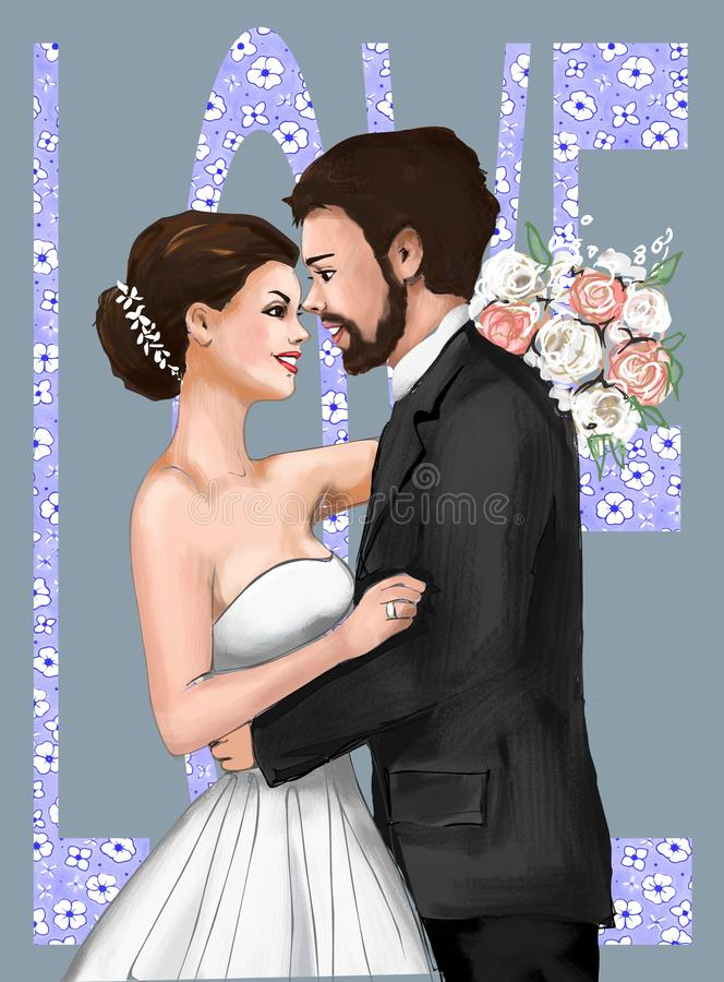 Cartão de Marriage Ceremony Marriage dos noivos, convite, amor, história de amor, mulher, fêmea, ilustração, paiting, dracma ilustração stock