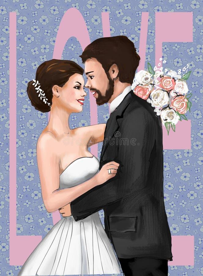 Cartão de Marriage Ceremony Marriage dos noivos, convite, amor, história de amor, mulher, fêmea, ilustração, paiting, dracma ilustração do vetor